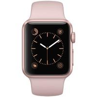 苹果(Apple)Apple Watch Sport Series 1智能手表(38毫米玫瑰金色铝金属表壳搭配粉砂色运动型表带 MNNH2CH/A)