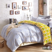 YUXIN 全棉斜纹三 四件套 纯棉床 床单 被套 婚庆套件 三件套 床上用品 格韵-灰
