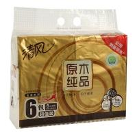 清风 原木纯品金装3层小规抽面纸 130抽*6包