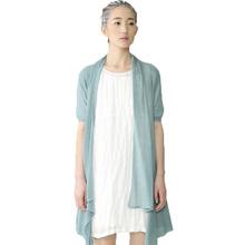 布景 麻质拼接廓形裙 白色 L