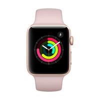 【官方授权】Apple Watch Series 3 GPS版 42mm 金色铝金属表壳搭配粉砂色运动型表带 MQL22CH/A