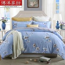 博洋家纺 纯棉四件套 简约田园花卉公主风被套床单 芳庭百合(蓝)1.5m