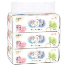 妮飘 面巾纸 大豆 蛋白 纤维 干湿两用 洗脸巾洁面巾 棉柔巾盒装 100抽3包