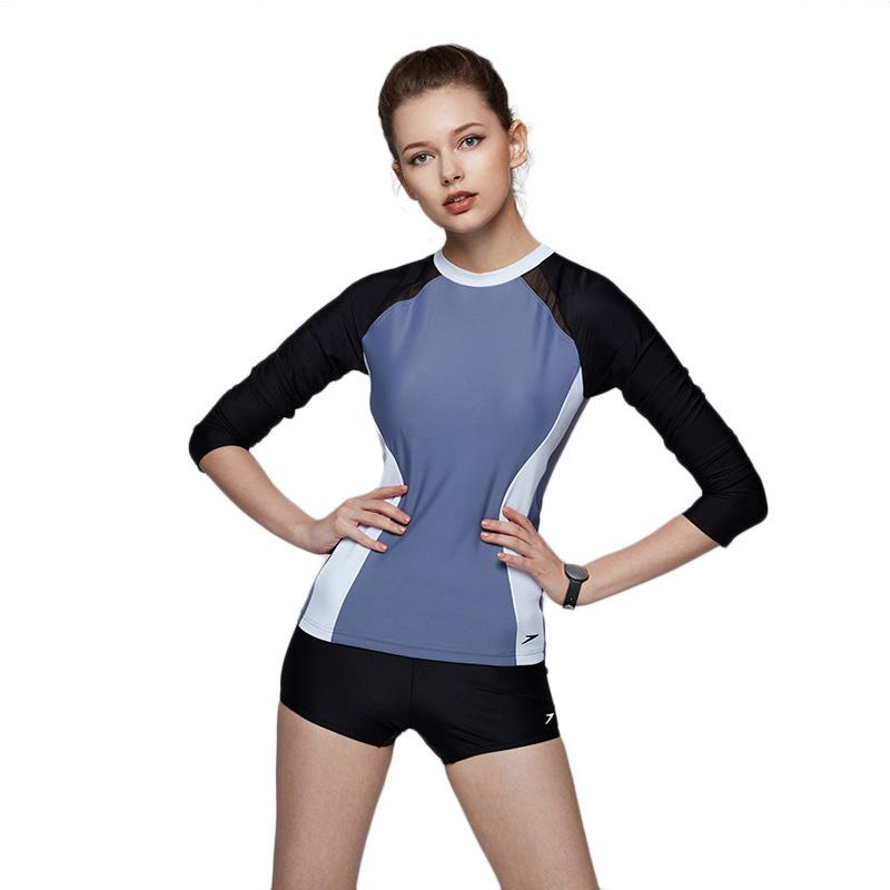 速比涛 Speedo 新款长袖分体保守平角游泳衣女长袖 8-11371 跃动灰/黑色C272-32