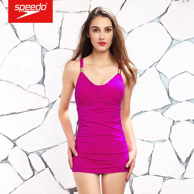 速比涛(Speedo) 塑形唯美裙摆式女士连体三角泳衣 610212 牵牛花紫46 32
