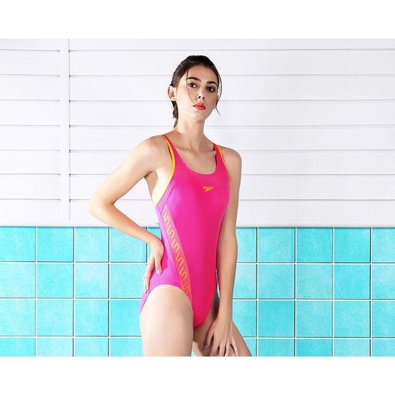 速比涛(Speedo) 女士连体三角泳衣小胸聚拢型舒适显瘦泳衣 510256 浅桃红31 32