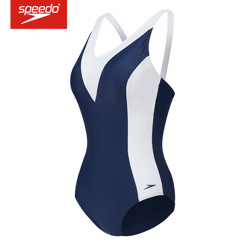 速比涛(Speedo) 2019新款游泳衣遮肚显瘦连体泳衣女 8 11377 海军蓝/白色5332 32