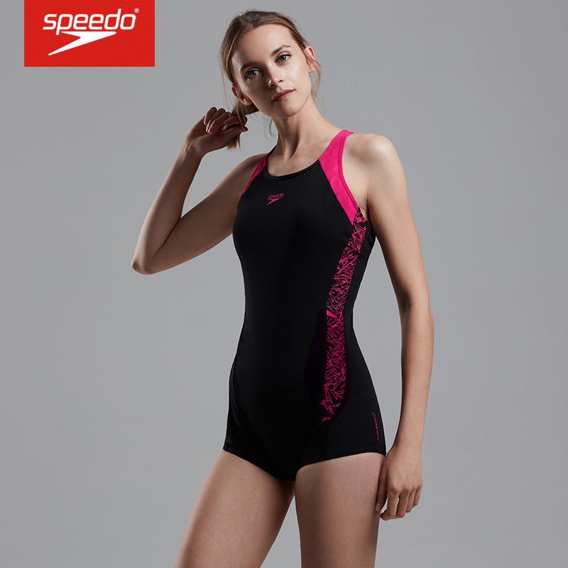 速比涛(Speedo) 保守大码女士连体平角游泳衣 8 10873 黑色 电光粉B344 36