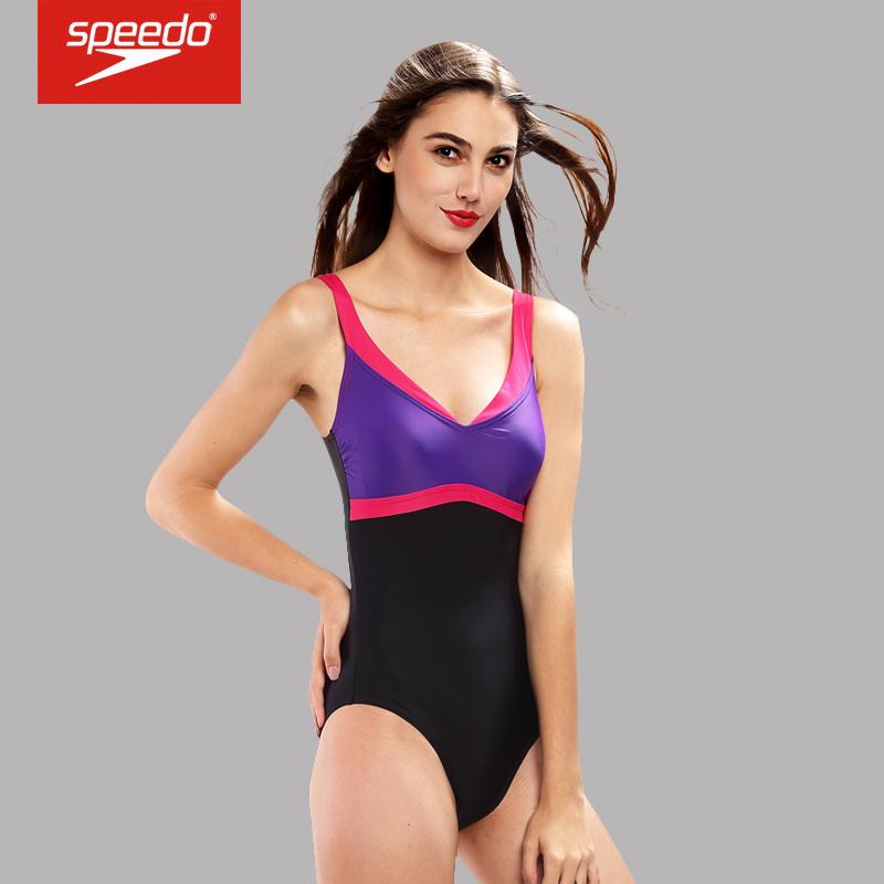 速比涛 Speedo 塑形唯美款裙摆式女士温泉连体三角泳衣 610212 牵牛花紫46-32