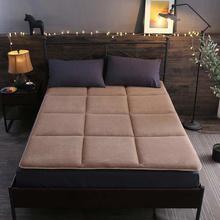 莱薇 可折叠保暖床褥单双人珊瑚绒床垫软垫150*200cm 卡其