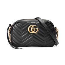 GUCCI 古驰 女士黑色GG Marmont系列小号绗缝肩背包 447632DTD1T1000
